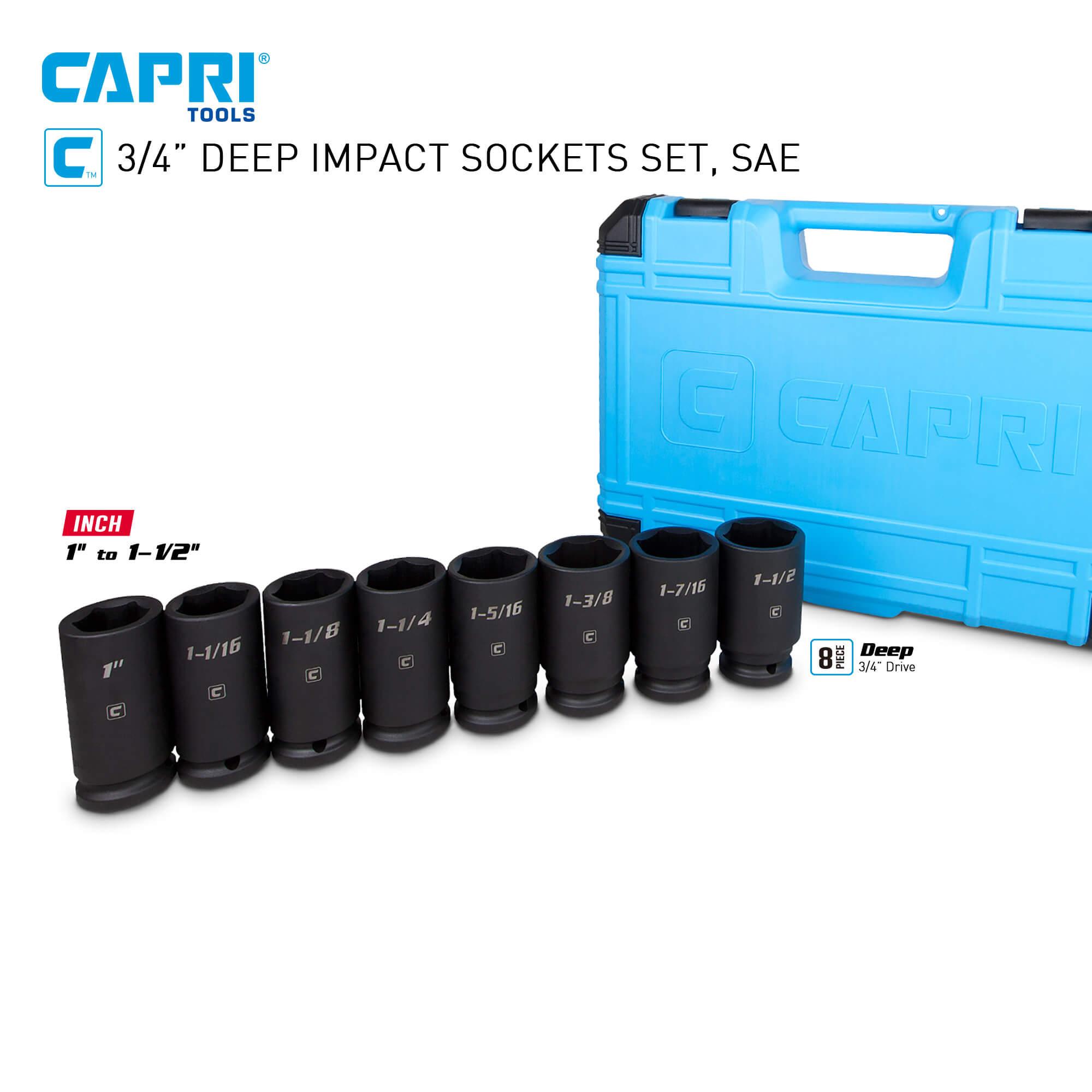 3//4-Inch Drive 6-Point SAE 1 to 1-1//2-Inch Capri Tools Deep Impact Socket