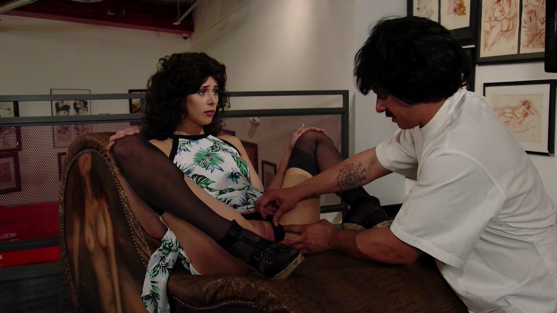 Beautiful Dark Haired Babe Sucks a Big Dildo and a Hot Nurse Fucks a Big Cock Starring: Elizabeth Bentley Anna Morna