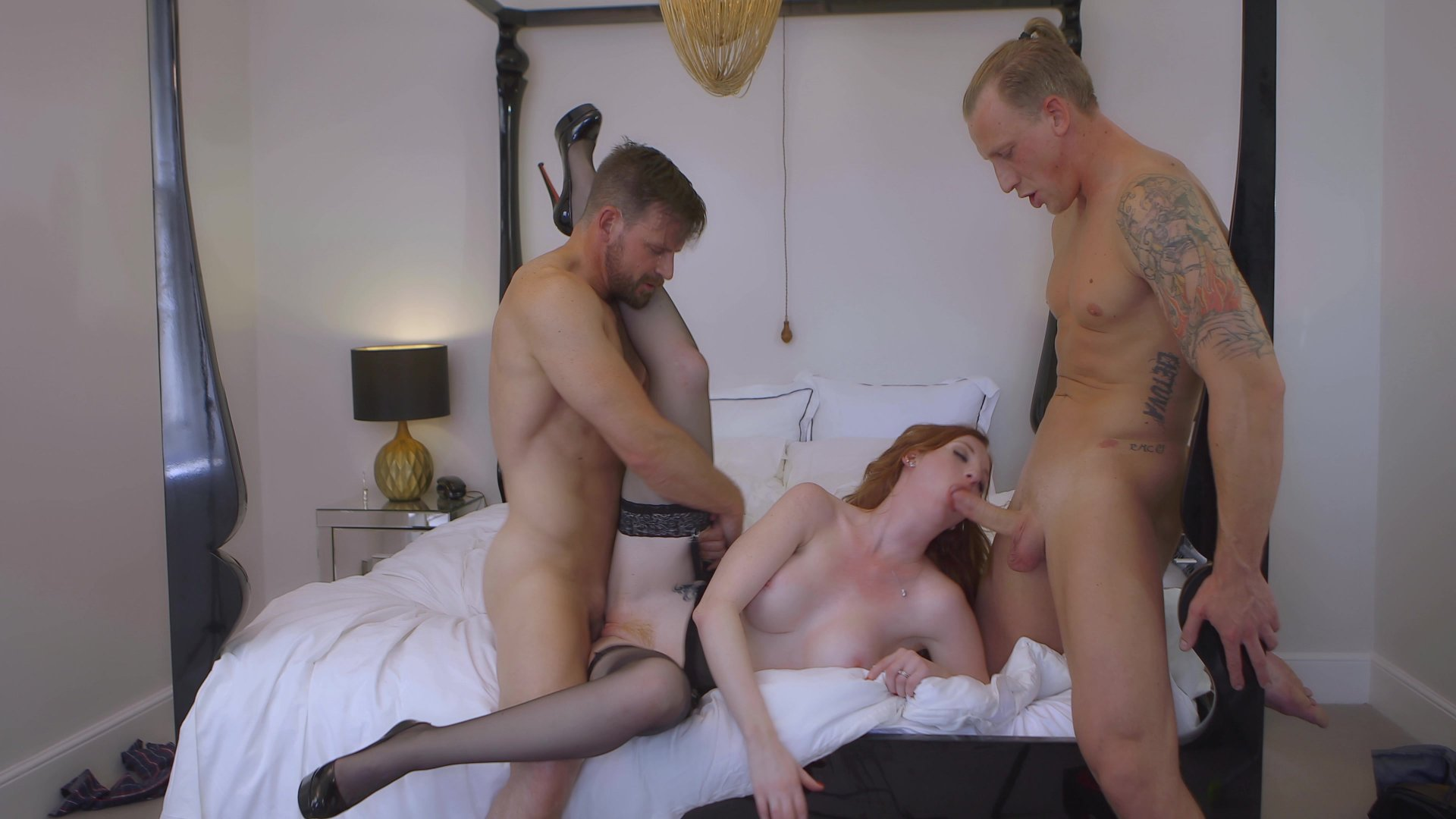 Red Haired Babe Enjoys Two Big Dicks at Once Length: 21 min