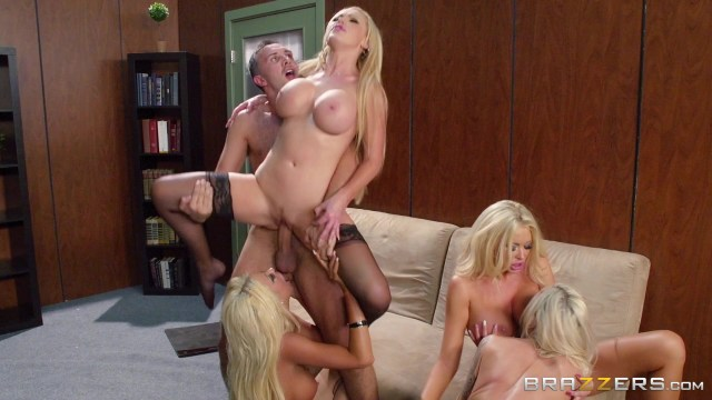 Four Super Hot Blondes and One Guy Have Sex Starring:  Nikki Benz  Summer Brielle  Courtney Taylor  Nina Elle