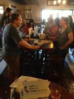 CapSciComm community in action: aspiring communicator Matt Doherty networks with seasoned journalist Becky Oskin.