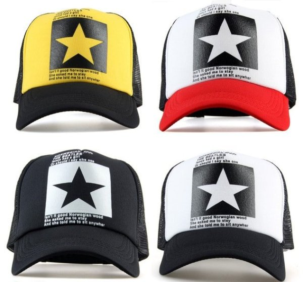 New Five-pointed Big Star Pattern Mesh Baseball cap 2