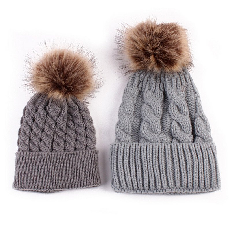 Mom and Baby Matching Knitted Hats Warm Fleece Crochet Beanie Hats Winter  Mink PomPom Kids Children Mommy Headwear Hat Caps 47363caa5830