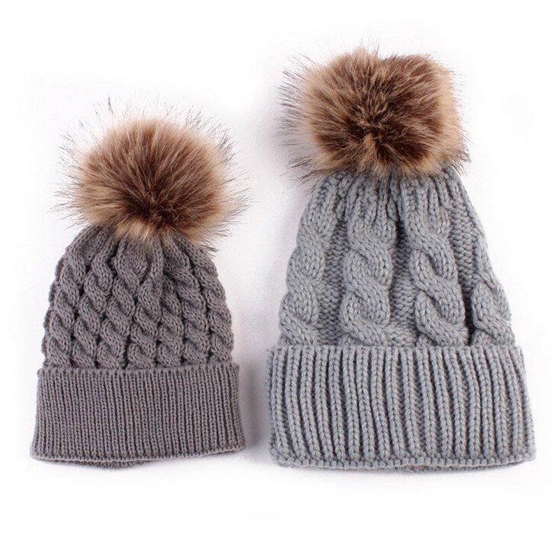 Mom and Baby Matching Knitted Hats Warm Fleece Crochet Beanie Hats Winter  Mink PomPom Kids Children Mommy Headwear Hat Caps 6486708bc96