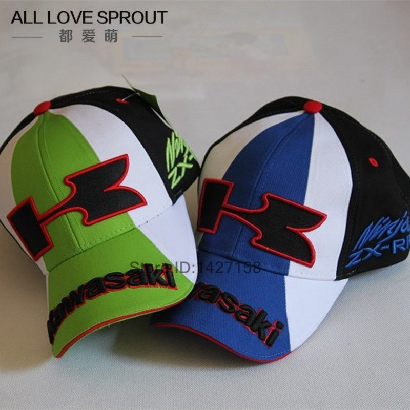 Kawasaki Cap Motorcycle Logo Baseball Black Green Hat Moto Racing Men Women Polo