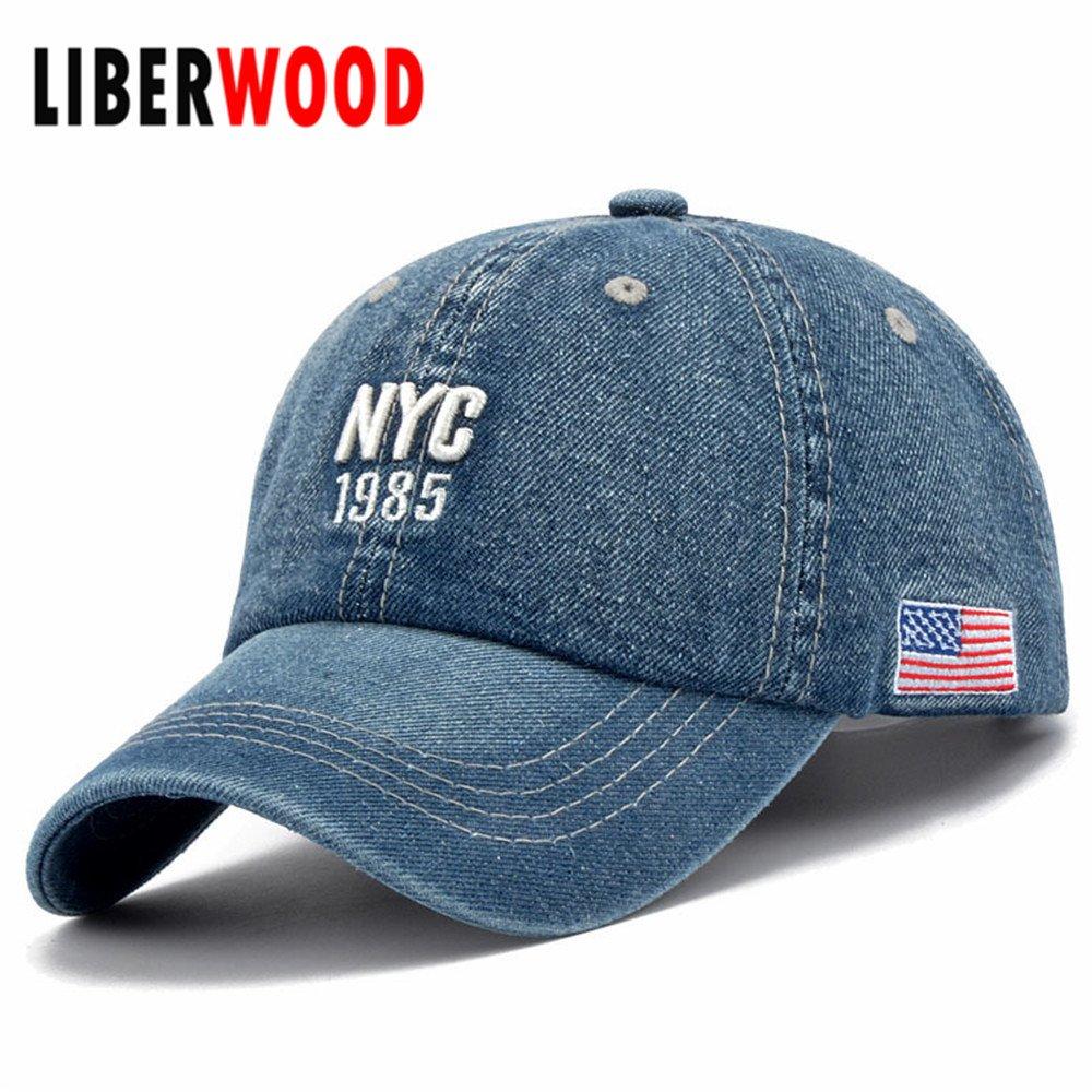 Denim Solid Blue Jeans NEW YORK City 1985 American Flag Baseball Hat ... 6cab03944bd