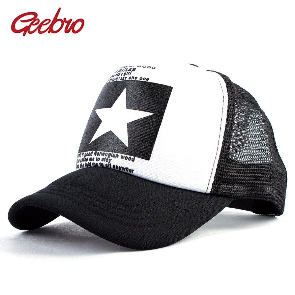 Geebro 2018 Summer Star Snapback Baseball Cap Men Sunshade Mesh Net ... 934da82390a