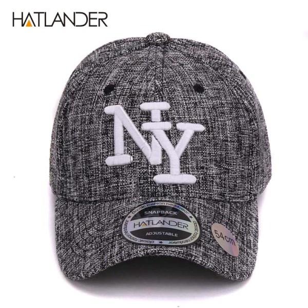 HATLANDER kids cotton linen baseball caps for boys girls outdoor sun hats NY letter adjustable casual children sports cap 4