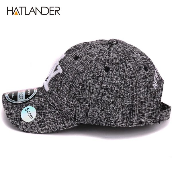 HATLANDER kids cotton linen baseball caps for boys girls outdoor sun hats NY letter adjustable casual children sports cap 6