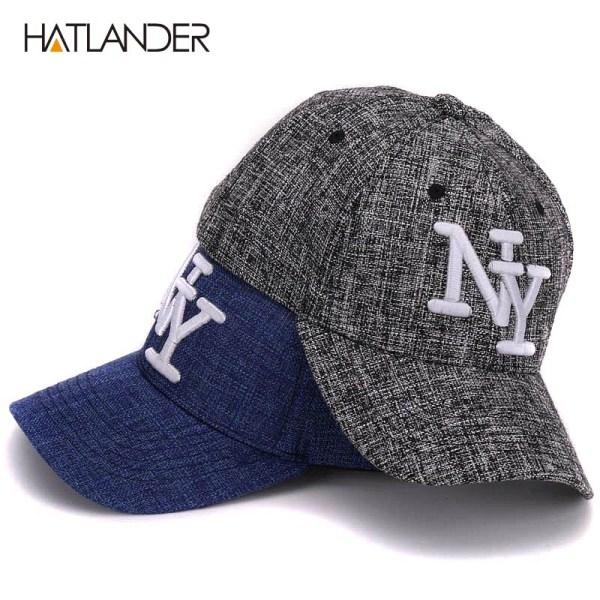 HATLANDER kids cotton linen baseball caps for boys girls outdoor sun hats NY letter adjustable casual children sports cap 12