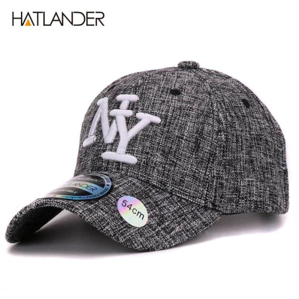 HATLANDER kids cotton linen baseball caps for boys girls outdoor sun hats NY letter adjustable casual children sports cap 2