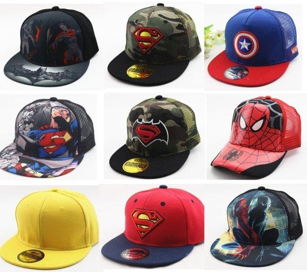 Hot Sale Children Cartoon Colorful  Superman Batman Adjustable Kids Baseball Snapback Cap  Unisex  Hip Hop Hats 2