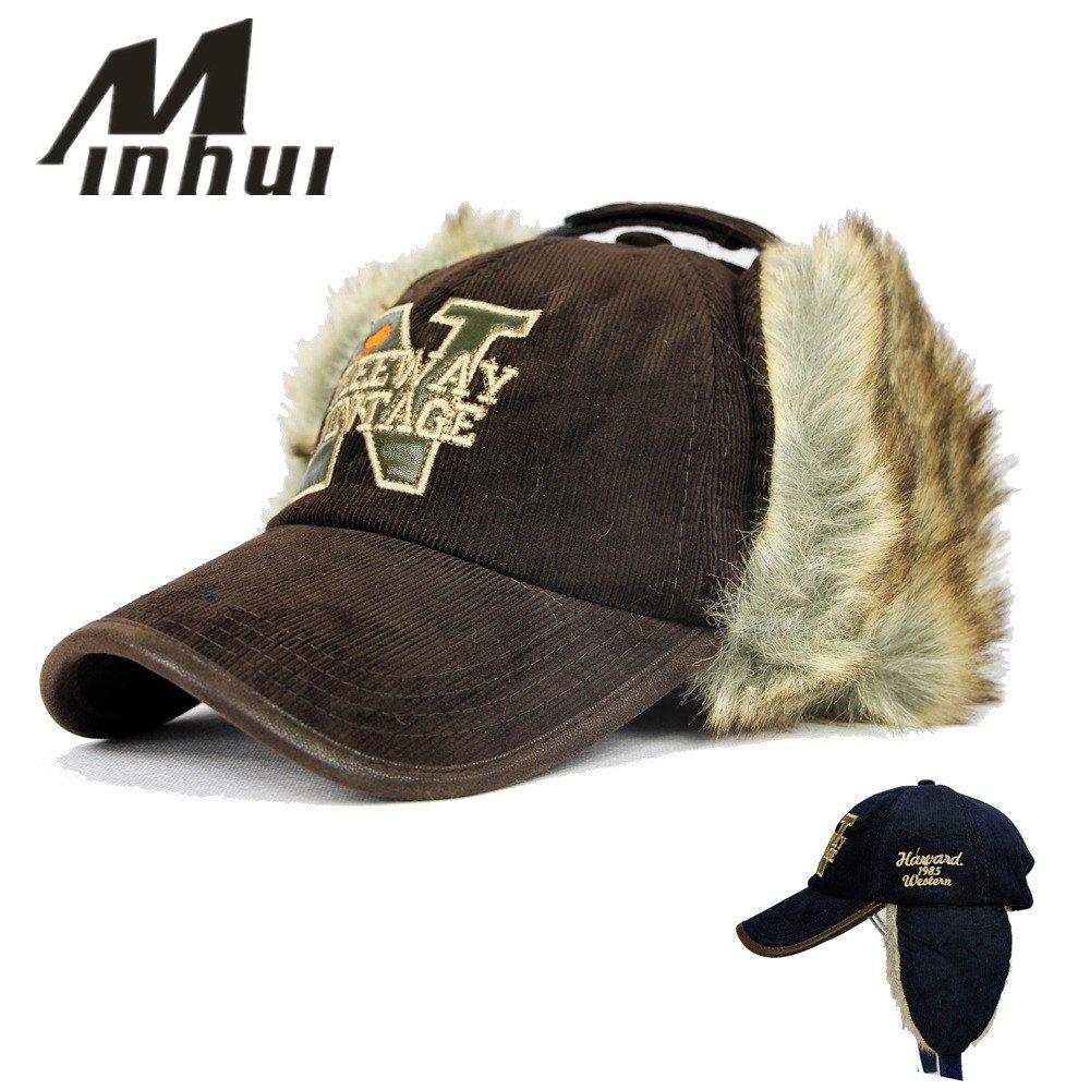 Minhui 2015 New Ear Rabbit Fur Warmers Winter Baseball Caps Female ... fc90e8c6321