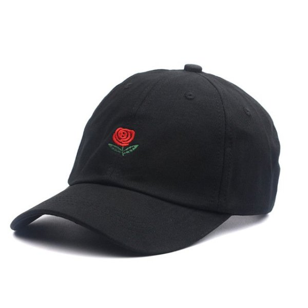 100% Cotton Rose embroidery hat black cap Blank snapback hip hop dad cap designer hats men women Visor hat skateboard gorra bone 7