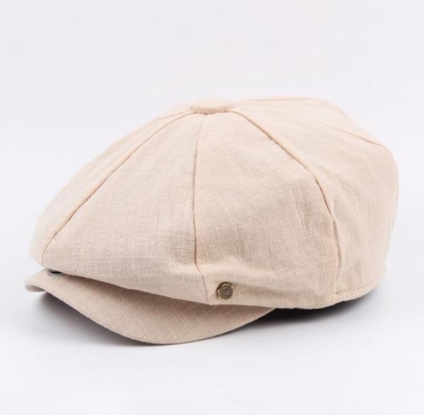 octagonal cap winter male British style retro linen painter hat solid color stitching fashion hat 12