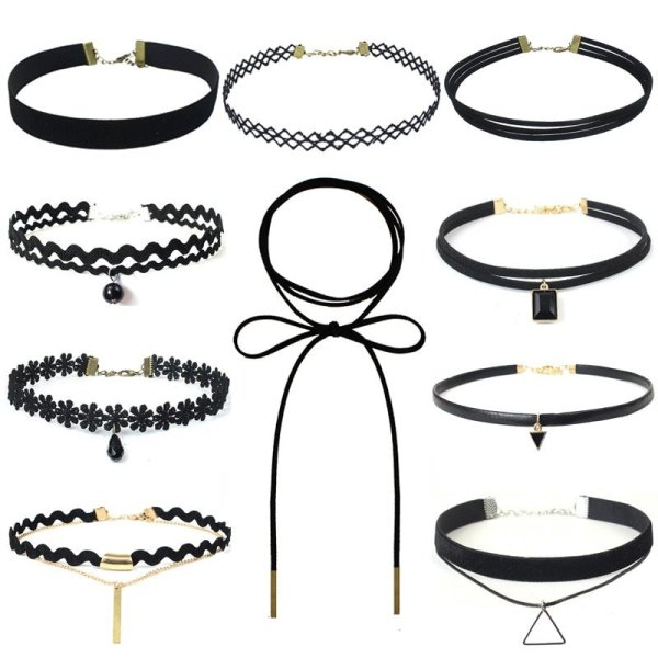 New hollow Designs Velvet Chokers Necklace Black Leather Rope Chain layer Chocker Vintage Jewelry for women Collier femme 2
