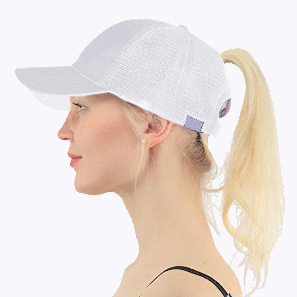 Adjustable Mesh Trucker Ponytail Baseball Cap Messy Buns Hat for Women Men