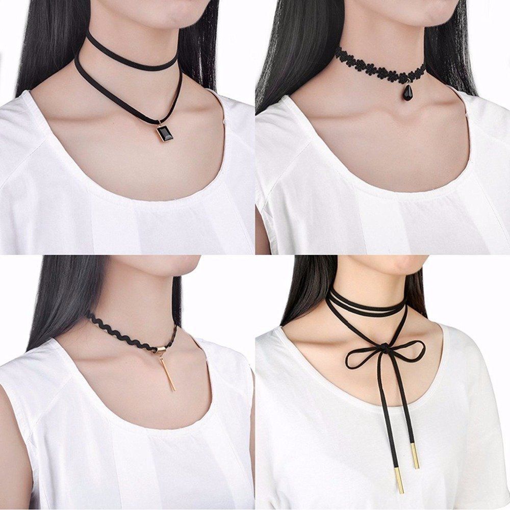 10PCS Women Girls Gothic Punk Black Velvet Lace Choker Pendant Chain Necklace