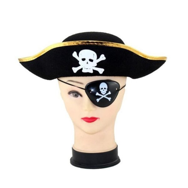 Pirate Cap Skull Print Pirate Captain Costume Cap Halloween Masquerade Party Cosplay Hat Prop 16