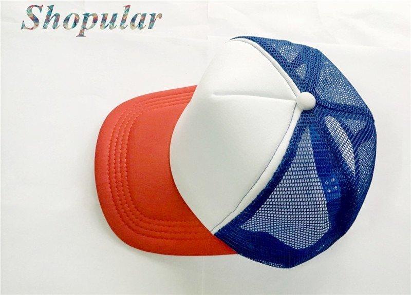Stranger Things Dustin HAT RED WHITE BLUE Trucker Baseball Mesh Cap ... 8dfb6432658