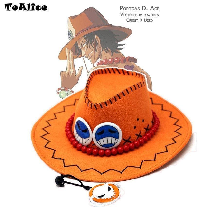 ab76b13d790 Wholesale Price One Piece Portgas D Ace Cosplay Hat Cowboy Hat Souvenirs Pirates  Caps With Bones ...