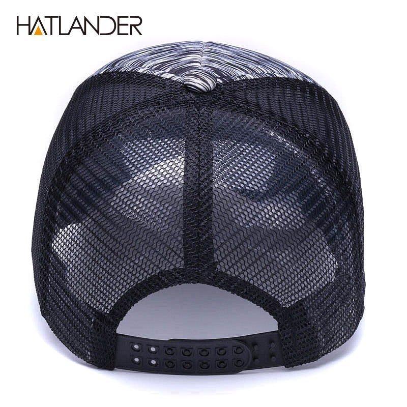 194ba1d84d1 HATLANDER Adjustable striped baseball caps for men women summer sun ...