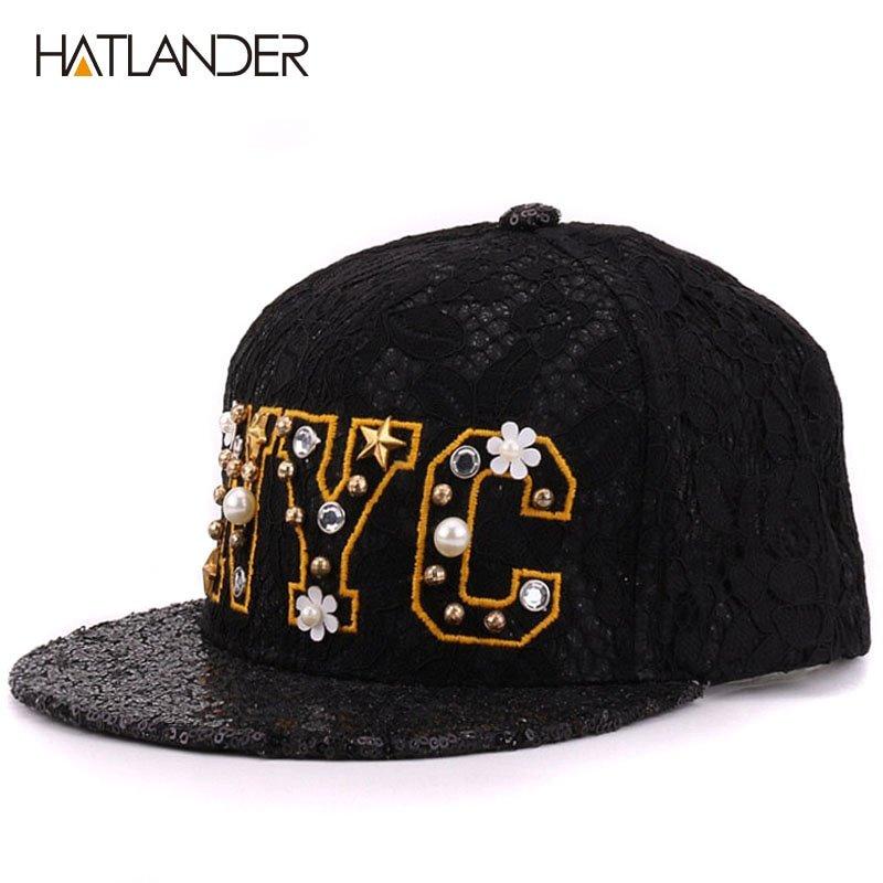 HATLANDER Luxury beaded letter NYC baseball caps for women snapbacks ... 3d6a18a41e9