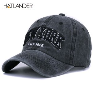 45cb773fad122  HATLANDER Sand washed 100% cotton baseball cap hat for women men vintage  dad hat NEW YORK embroidery letter outdoor sports caps