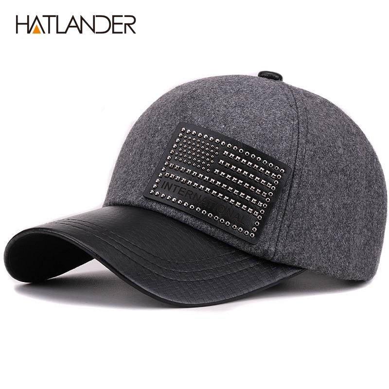 1c225cca ... Men Women Winter Hat Solid Casquette Faux Leather Brim Baseball Cap  Warm Snapback Hats. Sale! 🔍. https://capshop.store/