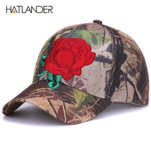8ffedf70042  HATLANDER embroidery floral baseball caps for men women sun hats  camouflage fitted gorras adjustable outdoor sports camo cap