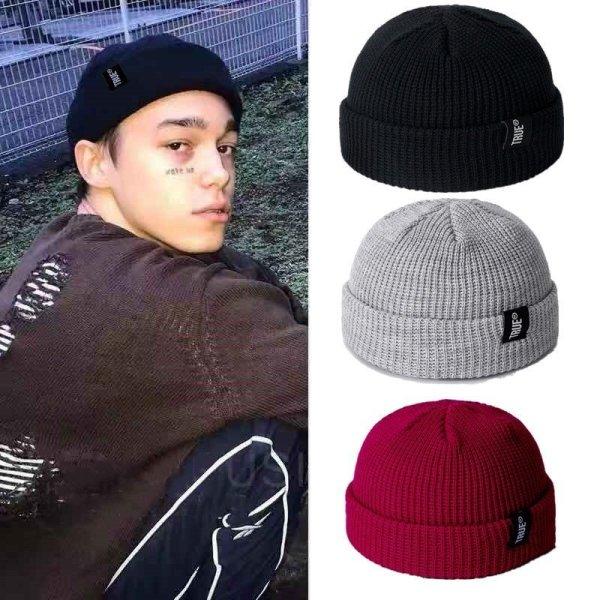 2019 Fashion Unisex Winter Hat Men Cuffed Cib Knit Hat Short Melon Ski Beanies Autumn Winter Solid Color Casual Beanie Hat 2