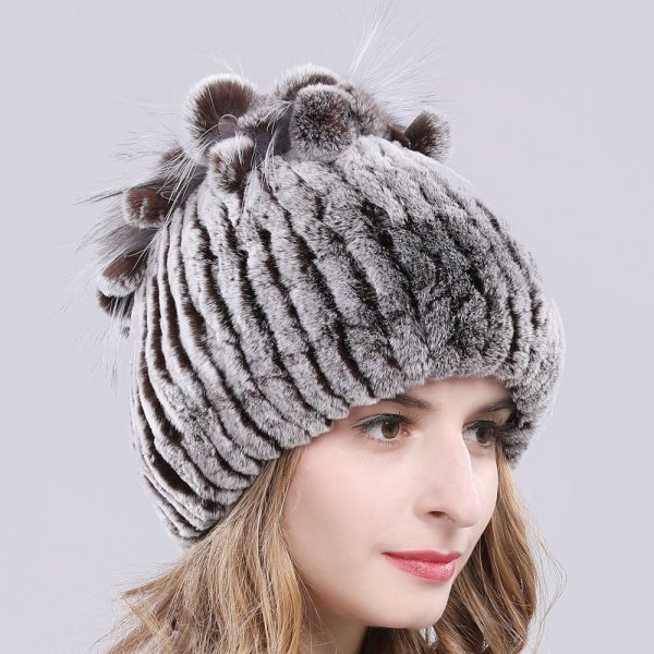 2019 Russia Hot Sale Winter Real Fur Beanies Hat Women 100% Genuine Real Rex Rabbit Hat Good Elastic Knitted Rex Rabbit Fur Caps 10