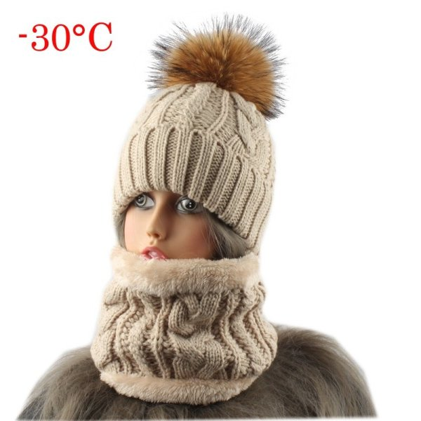 2019 Womens Hats With Scarf Warm Fleece Inside Beanie Girls Winter Cap For Women Real Mink Fur Pompom Hat Female Knitted Caps 2