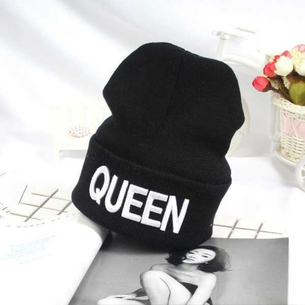 Beanies Cap KING QUEEN Letter Embroidery Warm Winter Hat Knitted Cap Hip Hop Men Women Lovers Street Dance Bonnet Skullies Black 4