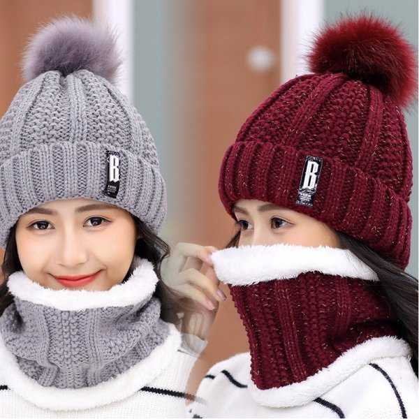 Brand Winter knitted Beanies Hats Women Thick Warm Beanie Skullies Hat Female knit Letter Bonnet Beanie Caps Outdoor Riding Sets 4