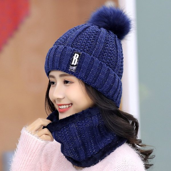 Brand Winter knitted Beanies Hats Women Thick Warm Beanie Skullies Hat Female knit Letter Bonnet Beanie Caps Outdoor Riding Sets 6