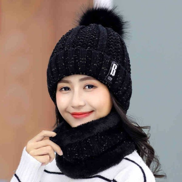 Brand Winter knitted Beanies Hats Women Thick Warm Beanie Skullies Hat Female knit Letter Bonnet Beanie Caps Outdoor Riding Sets 8