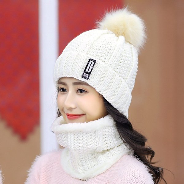 Brand Winter knitted Beanies Hats Women Thick Warm Beanie Skullies Hat Female knit Letter Bonnet Beanie Caps Outdoor Riding Sets 10