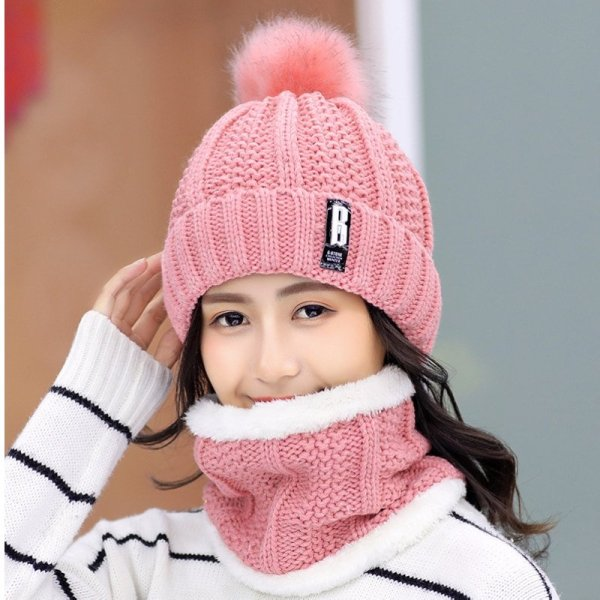Brand Winter knitted Beanies Hats Women Thick Warm Beanie Skullies Hat Female knit Letter Bonnet Beanie Caps Outdoor Riding Sets 2