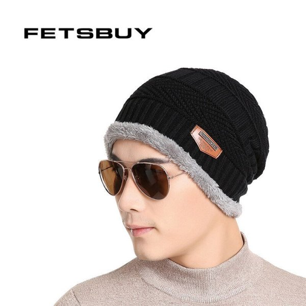 FETSBUY Pure Color Winter Skullies Beanies Hat Knit Winter Hat For Man Warm Hat Velvet Cap Bonnet Toucas Inverno Knitted Hats 2