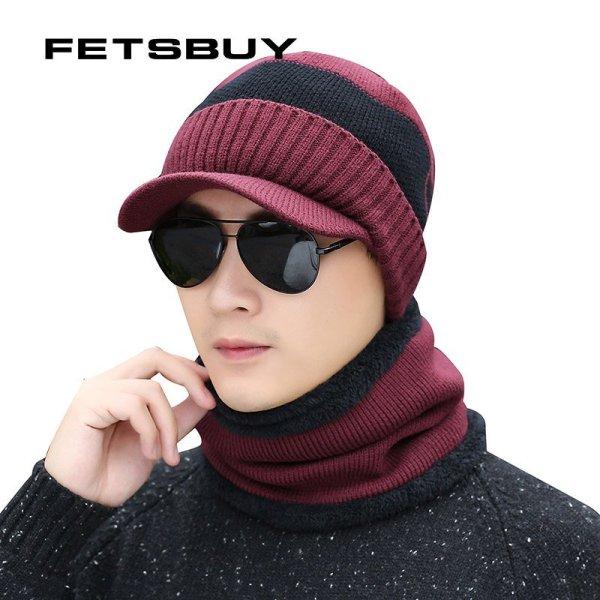 FETSBUY Winter Hats Skullies Beanies Hat Winter Beanies For Men Women Wool Scarf Caps Balaclava Mask Gorras Bonnet Knitted Hat 8