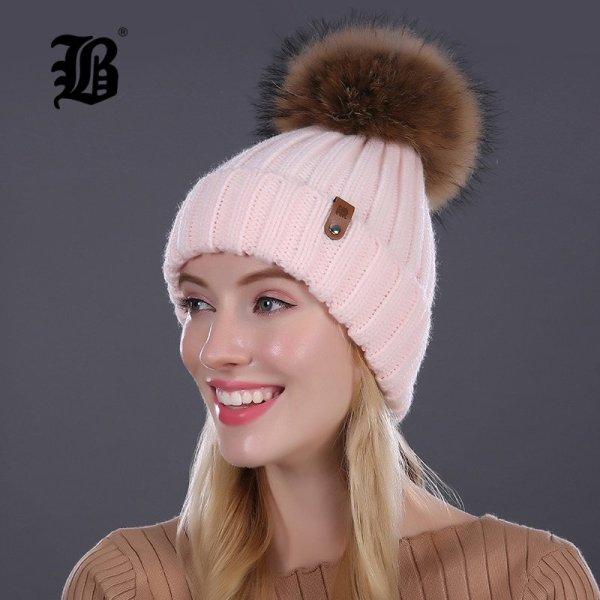 [FLB] Wholesale Real Mink Fur Pom Poms Knitted Hat Ball Beanies Winter Hat For Women Girl 'S Wool Hat Cotton Skullies Female Cap 10