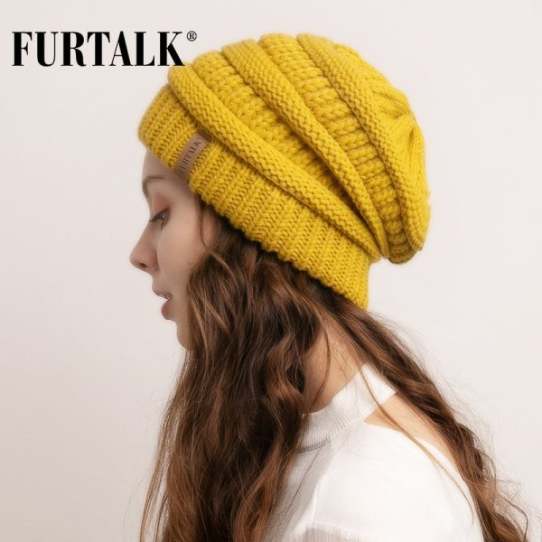 FURTALK Slouchy Beanie Winter Hat for Women Knitted Warm Fleece Lining Hat for Female Skullies Beanies Red Yellow Black Grey Cap 4