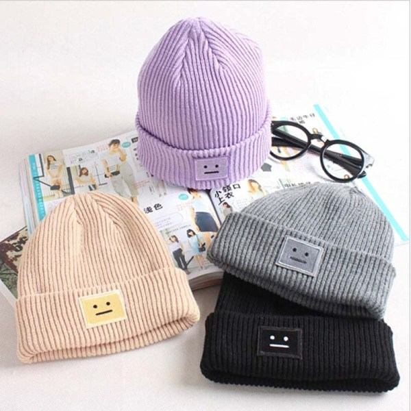 Korean New Hat Autumn Winter Fashion Warm knit Cap British Style Smiley Head Casual Knitted Cap For Women Outdoors Headwear 6
