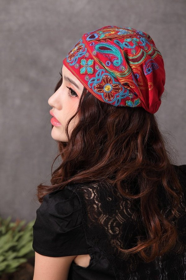 Mexican Style Spring And Autumn Ethnic Vintage Embroidery Flowers Bandanas Original Red Blue Print Hat Cat Free Shipping 10