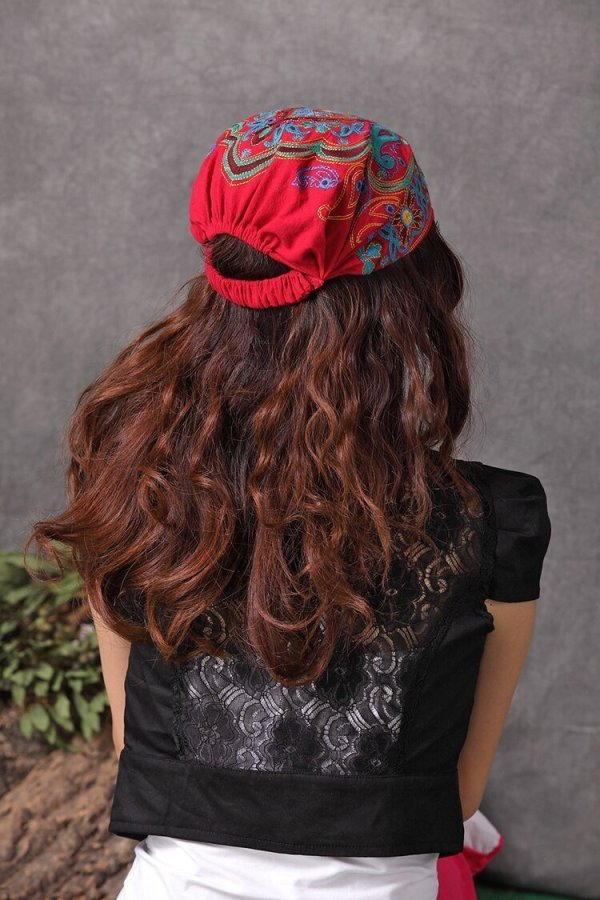Mexican Style Spring And Autumn Ethnic Vintage Embroidery Flowers Bandanas Original Red Blue Print Hat Cat Free Shipping 12