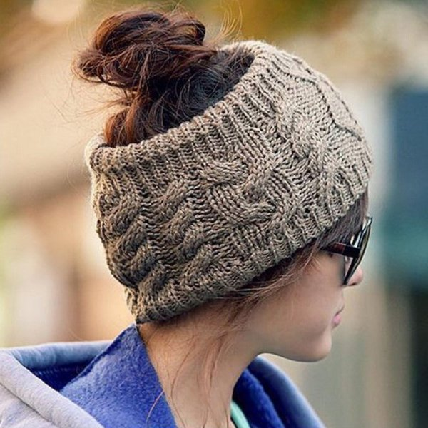 NIBESSER Fashion Snowboard Warm Knitted Cap Snap Skullies Bonnet Beanie  No Top Wool Hat Women Multi-purpose Hat 2