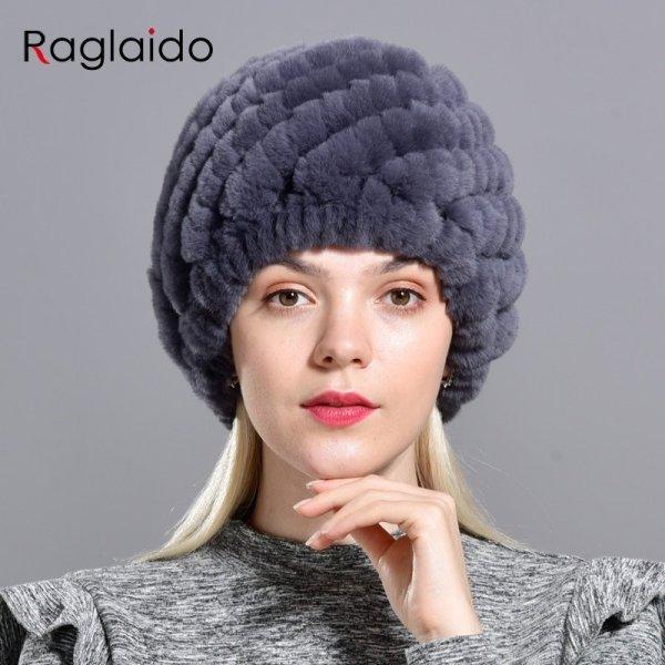 Raglaido Rabbit winter fur hat for Women Russian Real Fur Knitted Cap headgea Winter Warm Beanie Hats 2019 fashion brand LQ11279 4