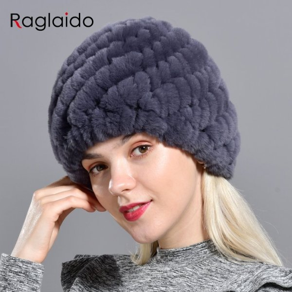 Raglaido Rabbit winter fur hat for Women Russian Real Fur Knitted Cap headgea Winter Warm Beanie Hats 2019 fashion brand LQ11279 2