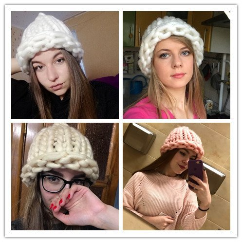 Simple girl Casual Cotton Acrylic Rushed New Fashion Female Winter wool Hats Hand Coarse Knitted Hat For Women Beanies 4